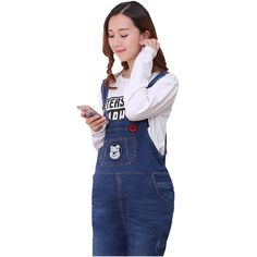 5c0f92ea22f2 2017 new women women long loose denim jumpsuits with pockets maternity  distrressed cottton trousers jeans Pregnant