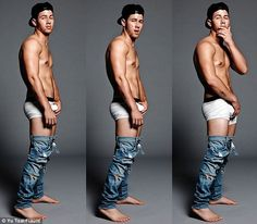 Nicky Nick? Jonas, 22, appears to have gained inspiration for his latest magazine photo shoot from 43-year-old actor Mark Wahlberg, who at the height of his underwear modeling fame went by the moniker Marky Mark