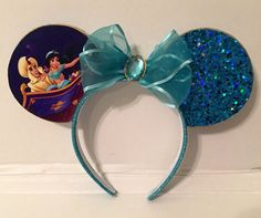 Aladdin and Jasmine inspired Mickey Mouse ears by ColeRoseCrafts