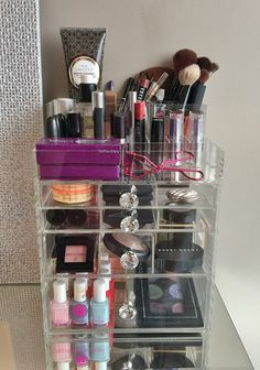 """Clear Acrylic Makeup Organizer """"GlitzBox"""" Brush and Lipstick Holder Crystal Knobs Vanity Drawer Cosmetic Storage"""