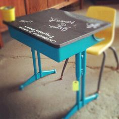 Our newest craft idea from construction junction. 1 can of spray paint, 1 can of chalk board paint and one of the reused school kid desks! Visit us at www.constructionjunction.org or check us out on Facebook at construction junction!  #reuse  #craft  #DIY