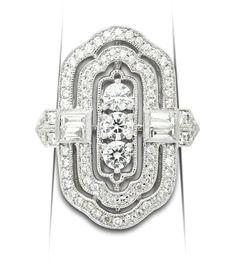 Estate Collection Modern Art Deco Style Diamond Ring  #artdeco #engagementrings #vintagejewelry #diamond #diamondrings #cocktailrings Diamond Rings, Diamond Cuts, Vintage Rings, Vintage Jewelry, Modern Engagement Rings, Modern Art Deco, Art Deco Fashion, Design Art, White Gold