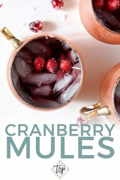 The Cranberry Mule is a fun take on the traditional Moscow Mule. Perfect as a Thanksgiving cocktail, this drink calls for cranberry juice, ginger beer and spiced rum, then is garnished with sugared cranberries. #cocktail #cranberry #speckledpalate