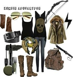 """""""Z-Day"""" Fashion Conscious in the event of an apocalypse of the Walking Dead variety. And if you wanna look like Daryl Dixon then here you go. Zombie Apocalypse Outfit, Apocalypse Fashion, Post Apocalypse, Apocalypse Survival, Winter Outfits, Cool Outfits, Fashion Outfits, Womens Fashion, Fashion Wear"""
