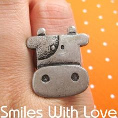 SALE Adjustable Cute Cow Farm Animal Ring in Silver $3.99  #cows #ring #jewelry #fashion #cute