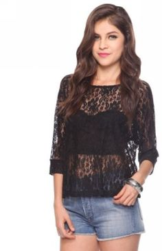 Forever 21 Relaxed Raglan Lace Top in Black - Lyst