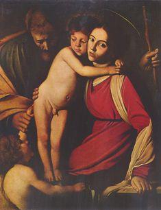 Caravaggio, la sagrada familia con juan el bautista