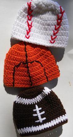 Sport baby crochet hat (football, baseball, basketball)