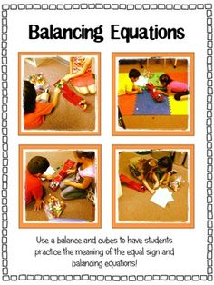 Students use a balance and cubes to practice finding missing addends in equations!Practice with:*the meaning of the equal sign*missing addend, etc! Addition And Subtraction Practice, Math Addition, Fun Math, Math Activities, Simple Math, Easy Math, Balancing Equations, Daily 5 Math, Math Blocks