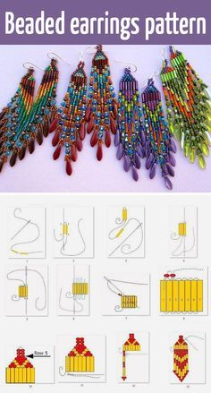Beaded earrings tutorial and pattern #Seed #Bead #Tutorials