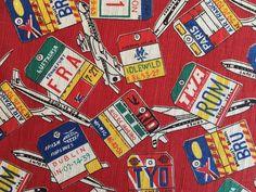 1M Vtg 50s 60s Airplane Fabric Airline Logo Luggage Tag PAN-AM TWA BOAC Cotton | eBay