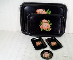 Vintage Black Enamel Metal Trays Collection  Set by DivineOrders, $27.00