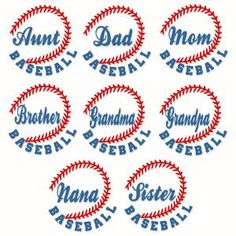 Baseball Family Names with Aunt, Dad, Mom, Brother, Grandma, Grandpa, Nana and Sister Cuttable Design Cut File. Vector, Clipart, Digital Scrapbooking Download, Available in JPEG, PDF, EPS, DXF and SVG. Works with Cricut, Design Space, Sure Cuts A Lot, Make the Cut!, Inkscape, CorelDraw, Adobe Illustrator, Silhouette Cameo, Brother ScanNCut and other compatible software.