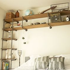 Add unique and one-of-a-kind design to your home with industrial pipe shelving!