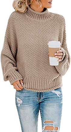 Amazing offer on Ybenlow Womens Turtleneck Sweaters Batwing Long Sleeve Casual Loose Oversized Chunky Knit Pullover Jumper Tops online - Topofferideas Long Sweaters, Sweaters For Women, Oversized Sweaters, Winter Sweaters, Blusas Oversized, Pullover Shirt, Pullover Sweaters, Knitting Sweaters, T Shirt