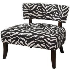 Powell Company Lady Slipper Zebra Print Accent Chair Powell Company Adds bold drama and style to any space A trendy home décor addition Features a generous sized seat for comfort Zebra Print Upholstery Black Finish Large Home Office Furniture, Powell Furniture, Accent Furniture, Rooms Furniture, Furniture Ideas, Armless Accent Chair, Restoration Hardware Chair, White Zebra, Home