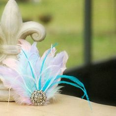 Pastel Feathers Head Piece Fascinator Hair Clip / Head Comb. Etsy Handmade Classy French Shabby Chic, Stylish Statement Bridal Bride Couture - pinned by pin4etsy.com