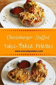 Cheeseburger Stuffed Twice Baked Potatoes