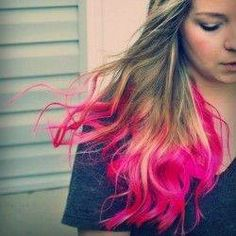 Have fun with your hair try some  hot pink dip dye