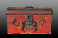Antique red toleware from American folk arts, wonderful piece of tole