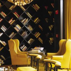 diagonal bookshelves in the library at Santa Monica's VICEROY hotel