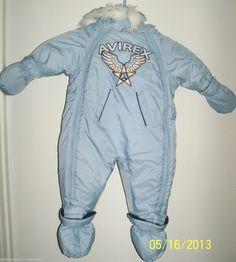 Infant Baby Boy 0-3mths SNOWSUIT attached gloves Booties Powder Blue AVIREX #Avirex #Snowsuit