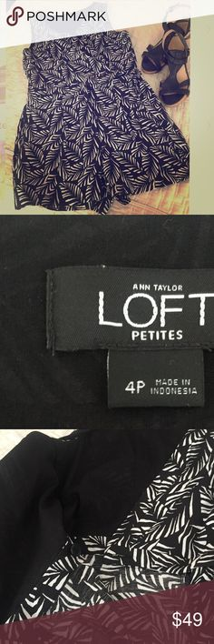 LOFT :: NWOT Romper ANN Taylor Loft :: NWOT :: 4P :: Black & White Romper :: front zipper waist closure with button closure at bodice :: never worn :: no signs of wear, damage, or staining :: perfect for summer :: can be worn casual or dressed up with wedges and accessories for a night out LOFT Other