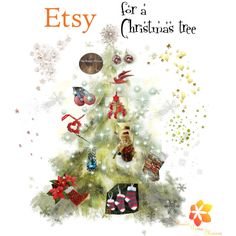 Etsy for a Christmas tree by varivodamar on Polyvore featuring мода, Kurt Adler and modern
