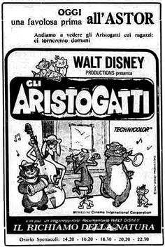 """Gli Aristogatti"" (The AristoCats, 1963) di Wolfgang Reitherman, con Phil Harris e Eva Gabor. Italian release: July 3rd, 1964 #MoviePosters #WaltDisney #TheAristocats"