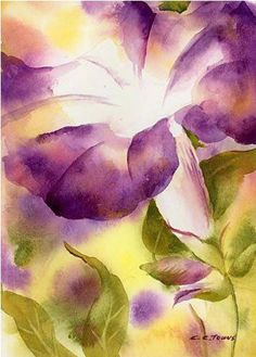 Original Watercolor Painting Morning Glory by by ConnieTownsArt