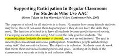 Supporting Participation In Regular Classrooms  For Students Who Use AAC  (Notes Taken At Pat Mirenda's Video Conference Feb. 2007)