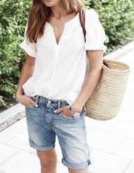 Linen blouses and denim cut-offs.