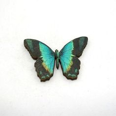 Green Butterfly Brooch Wood Accessory Butterfly by LaurasJewellery