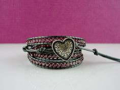 Valentines Jewelry Leather Wrap Swarovski by thechicboutique10, $70.00
