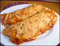 Hungry Girl enchilada swap. I'd really love to try and emulate Mi Ranchito's cream cheese chicken enchiladas. Yummm....