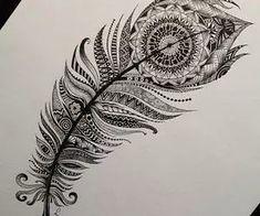 result for mandala feather tattoo Mandala Feather, Peacock Feather Tattoo, Feather Art, Feather Tattoos, Body Art Tattoos, New Tattoos, Tribal Tattoos, Cool Tattoos, Tribal Feather