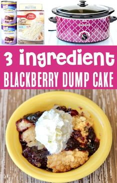 Crockpot Blackberry Dump Cake Recipe! Easy Slow Cooker desserts are the perfect solution for busy nights, and this sweet berry dessert with buttery crumble topping is SO simple to make! Just 3 ingredients and you're done! Go grab the recipe and give it a try this week! Easy Summer Desserts, Fun Desserts, Delicious Desserts, Dessert Recipes, Blackberry Dump Cakes, 3 Ingredient Desserts, Slow Cooker Desserts, Dump Cake Recipes, Yummy Appetizers