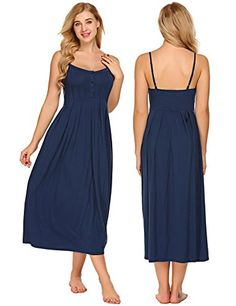 e0e3f7510006 Buy Women Casual Spaghetti Strap Sleeveless Button Nighties Sleepwear Dress(S-XXL)  - Dark Blue - and Find More From Our Large Selection of Women's ...