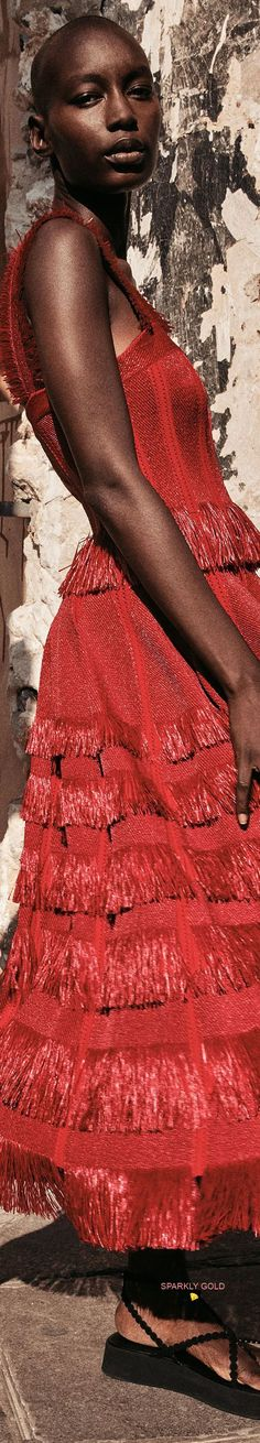 Alaia, Fringes, Backless, Couture, Spring, Dresses, Fashion, Season 2, Red