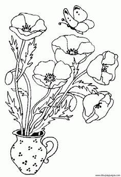 Dibujos de canastas con flores y mariposas para colorear - Imagui