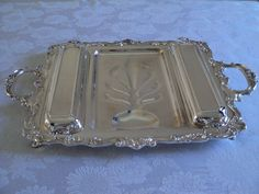 ELEGANT HEAVY SILVER ON COPPER 3-PART FOOTED MEAT PLATTER WITH AU JUS WELL #Sheridan $55.00