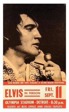 Mini Print of Elvis Presley - Olympia Stadium Detroit