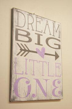 Dream Big LIttle One Girls Nursery Sign Wood Sign Lavender and Gray Nursery Baby Shower Gift Shabby Chic Nursery Vintage Nursery Wall Art