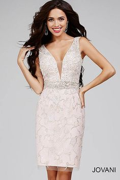 Silver and Pink Dress with Plunging Neckline and Embellished Bodice 27424