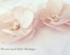 Blush Bridal Flower Hair Clip Duo, Blush Wedding Hair Accessory, Blush Bridal Head Piece