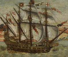 File:English school - c. the Henry Grace à Dieu (The Great Harry), oil on panel, Sotheby's sale Oct. Arsenal, Virginia History, Art Through The Ages, Nautical Flags, Tall Ships, Royal Navy, 16th Century, Sailing Ships, Sailing Boat
