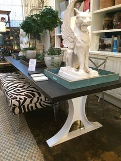 Metal Hourglass and Concrete Top Dining Table