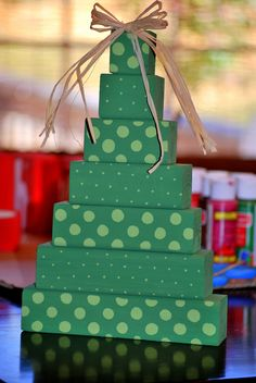 Polka Dot Christmas Tree wooden block stack shelf sitter. $12.00, via Etsy.