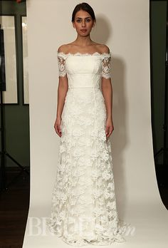 Temperley Bridal - Fall 2014 - Sienna  Off-the-Shoulder Lace Sheath Wedding Dress with Short Sleeves |