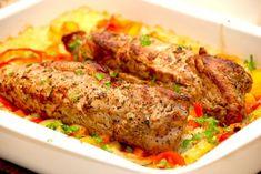 Mørbradfad med ris og grøntsager